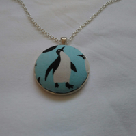 38mm Penguin Fabric Covered Button Pendant