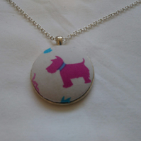 38mm Pink Dog Fabric Covered Button Pendant