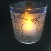 Dog Frosted Glass Tealight Holder