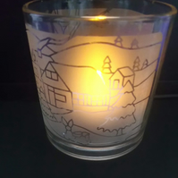 Winter Design Glass Tealight Holder