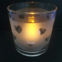 Heart Design Glass Tealight Holder