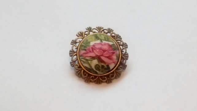 Pink Rose Fabric Covered Button Brooch