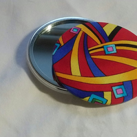 Retro Design Fabric Backed Pocket Mirror