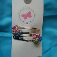 Floral Design Fabric Covered Button Hair Clips