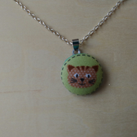 29mm Cat Face Fabric Covered Button Pendant