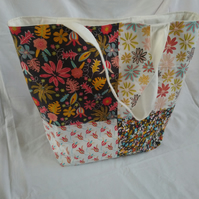 Autumnal Fabric Patchwork Tote Bag