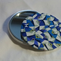 Blue and White Patterned Fabric Backed Pocket Mirror