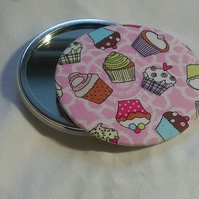 Cupcake Design Fabric Covered Pocket Mirror