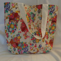Floral and Butterfly Design Tote Bag