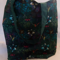 Jungle Flowers and Bird Design Tote Bag