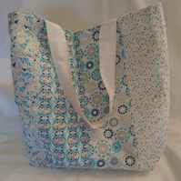 Blue and White Patterned Patchwork Design Tote Bag