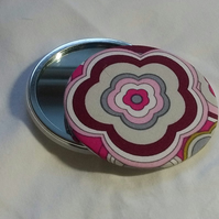 Pink Patterned Fabric Backed Pocket Mirror