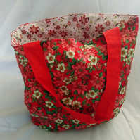 Reversable Red Poinsettia and Flower Design Tote Bag