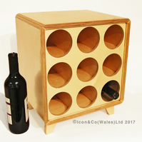 Birch Plywood Wine Rack - 9 Bottle Storage Cube, ALL NATURAL Finish