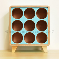 Birch Plywood Wine Rack - 9 Bottle Storage Cube with PALE BLUE Face