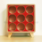 Birch Plywood Wine Rack - 9 Bottle Storage Cube with RED Face