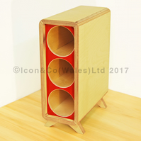 Birch Plywood Wine Rack - 3 Bottle Storage Tower, with RED Face