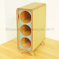 Birch Plywood Wine Rack - 3 Bottle Storage Tower, with PALE BLUE Face