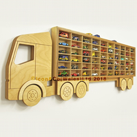 Toy Car Storage Truck Shelf, Birch Plywood Display Unit, Fits 60 toy cars