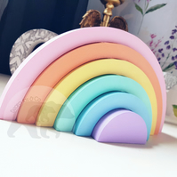 6 piece Stacking Wooden Rainbow