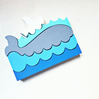 Whale, sea & boat jigsaw, stackable, wooden