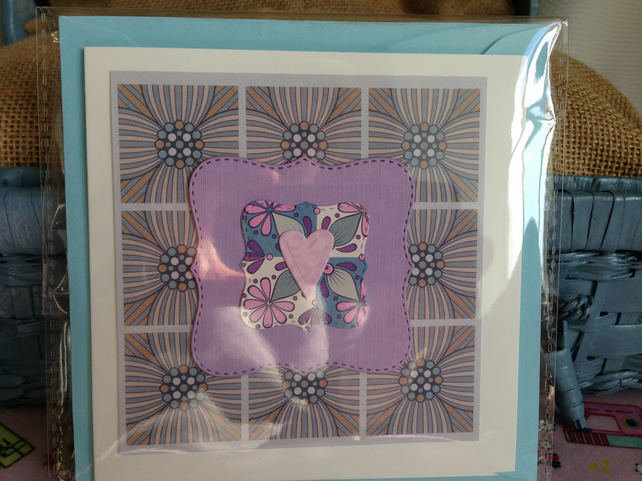 (0014)Retro lilac and pink heart card.