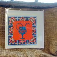 (0025) Handmade Bright Orange 'Gin' greetings card.