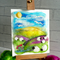 Original landscape, painted with wool. Signed. Wet felted. 'Sheep in Heather'