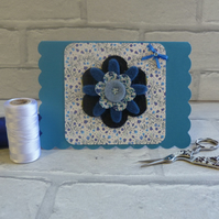 Denim and  blue floral card. Any occasion.