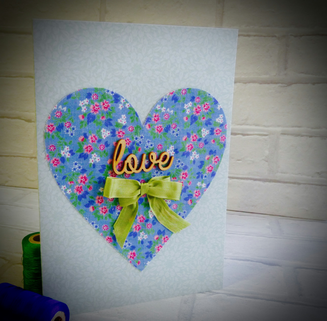 'Love' floral cotton heart card.