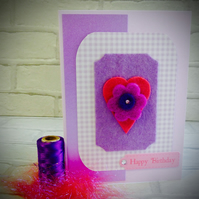 Lilac and pink felt flower and heart Birthday Card.