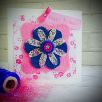 Denim and pink floral Happy Birthday card.
