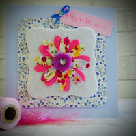 Floral blue,pink and white Happy Birthday card.