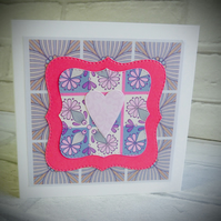 (0021) Pale pink heart card
