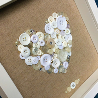 Beautiful Handcrafted Heart Button Frame    25cm x 25cm Deep Box Frame