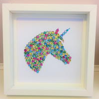 Lovely Unicorn Gemstone Frame - Can be personalised with up to 2 names.