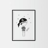 Litte Pirate Boy A3 Kids Print