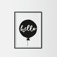 Hello Balloon A4 Kids Print