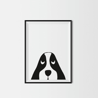 Peekaboo Dog A3 Kids Print