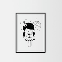 Little Circus Girl A4 Print