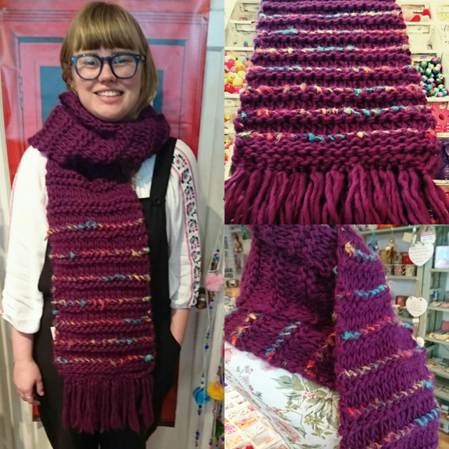 One-off hand knitted scarf