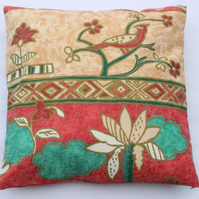 "Bird pattern cushion cover 18x18"" (45x45cm), cotton fabric"