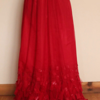 Red tulle evening dress, size M (12 UK)