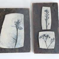 Set of 3 forget me not printed tiles, Mounted onto vintage recycled wood