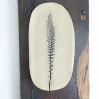 Rustic ceramic leaf print, mounted onto vintage recycled wood