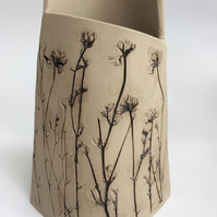 Stumpy botanical printed vessel.
