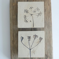 Cow parsley printed tiles mounted onto recycled rustic wood.