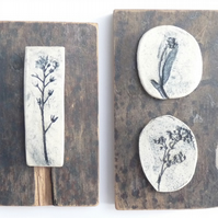 Rustic set of 2 forget me not printed tiles, Mounted onto vintage recycled wood