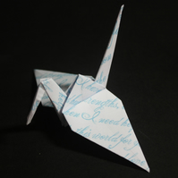 20 Origami Cranes  with Pale Blue Handwriting Design