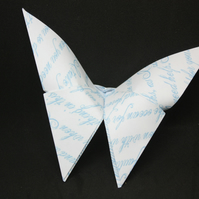 12 Origami Butterflies with a Pale Blue Handwriting Design